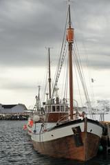 Old wooden fishing boat moored in the port-Laukvik-Vagan kommune-Austvagoya-Lofoten-Norway. 0632