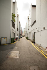 Low angle view of a quiet backlane.