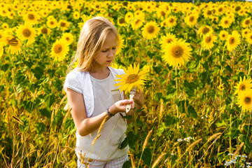 girl paints sunflowers in a field