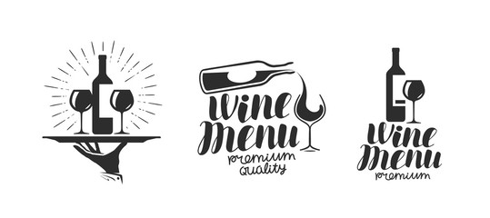 Wine, winery logo or icon, emblem. Label for menu design restaurant or cafe. Lettering vector illustration