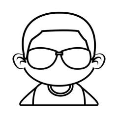 Cute boy with sunglasses cartoon