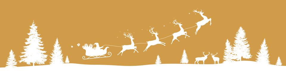 Christmas border with flying sleigh