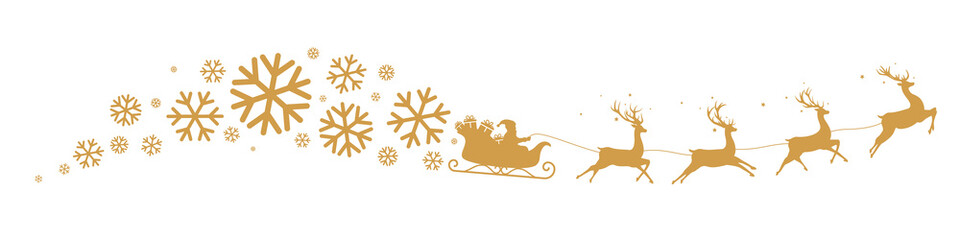 Sleigh and snowflakes