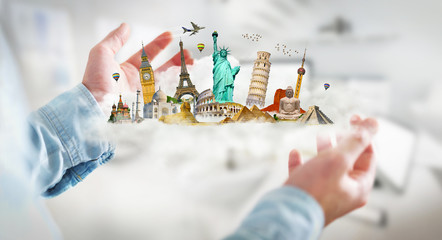 Businessman holding a cloud full of famous monuments in his hands 3D rendering