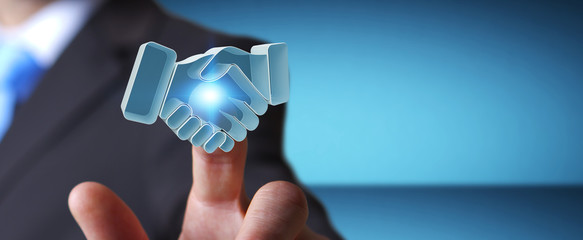 Businessman concluding a partnership 3D rendering