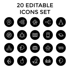 Set of 20 company outline icons