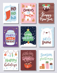 Christmas party invitation vector card design template for noel Xmas holiday celebration clipart New Year Santa Claus printable poster background