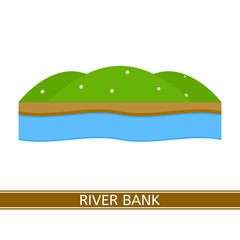 Vector illustration of river bank isolated on white background in flat style.