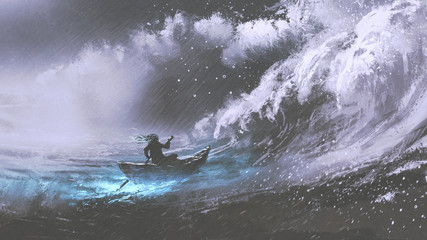 man rowing a magic boat in stormy sea with rogue waves, digital art style, illustration painting Wall mural