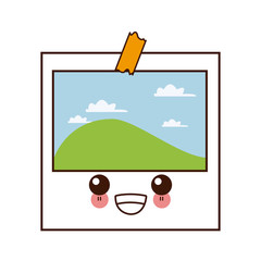 Landscape photo frame cute kawaii cartoon
