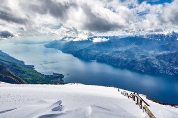 View of the Lake Garda from mount of Monte Baldo, Italy. Garda lake in the winter  time