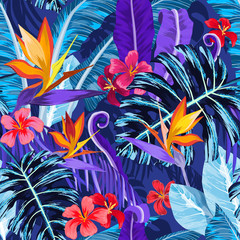 Seamless pattern with tropical flowers and plants