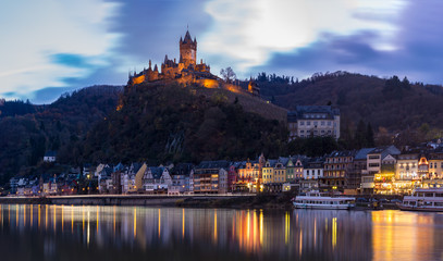 Moselle Riverbank in Cochem Germany with Imperial Castle on Hillside