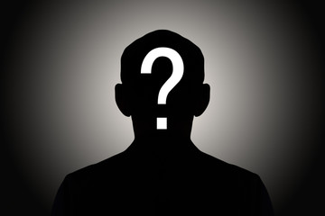 silhouette male on gradient background with white question mark