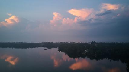 beautiful sunrise over tropical lake aerial shot