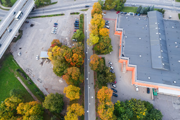 Aerial view of the city at autumn season.