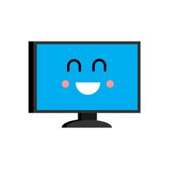 Happy computer Emoji. Merry PC avatar. Vector illustration