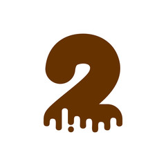 Number 2 Chocolate font. Sweetness numeral two alphabet. Liquid lettering figure. Sweet viscous ABC sign