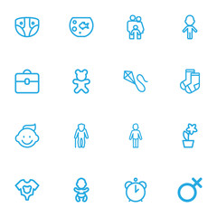 Set Of 16 Editable Kin Outline Icons. Includes Symbols Such As Dress, Clothes, Girl And More. Can Be Used For Web, Mobile, UI And Infographic Design.