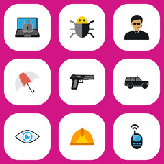 Set Of 9 Editable Safety Flat Icons. Includes Symbols Such As Hatchback, Gun, Hardhat And More. Can Be Used For Web, Mobile, UI And Infographic Design.