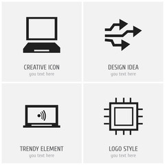 Set Of 4 Editable Computer Icons. Includes Symbols Such As Laptop, Motherboard, Monitor And More. Can Be Used For Web, Mobile, UI And Infographic Design.