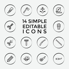 Set of 14 sharp outline icons