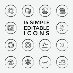 Set of 14 sunset outline icons