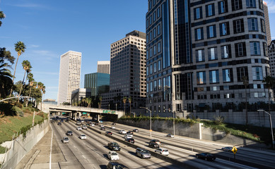Downtown Los Angeles California Holiday Highway Traffic