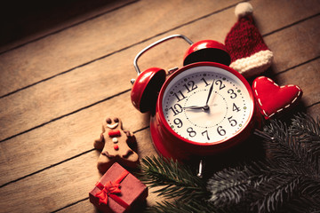 Christmas decoration and alarm clock
