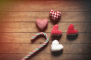 Christmas lollipop and heart shape toys