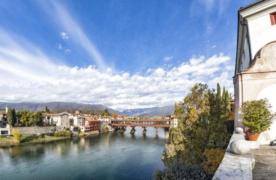 River Brenta and bridge Ponte Alpini in Bassano del Grappa