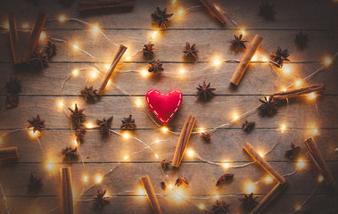 Holidays illuminations and heart shape toy