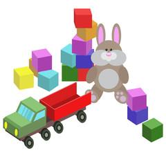 illustration of children toys, cubes