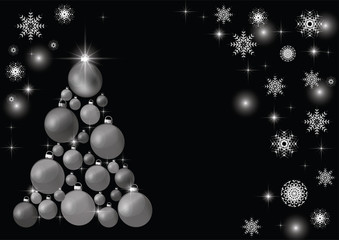 Decorated Christmas tree, beautiful New Year's background. EPS 10. Black and white illustration.