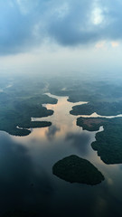 aerial shot of island in tropical lake sri lanka