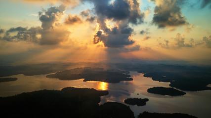 aerial shot of islands in tropical lake at sunrise sri lanka