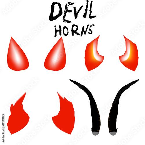 Devil Horns Vector Isolated Satan Horns Symbol Illustration Stock