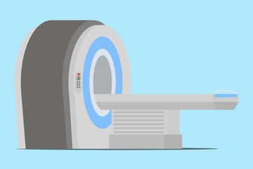 MRT machine for magnetic resonance imaging in radiology in a hospital. Vector illustration