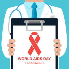 Doctor holding a clipboard with text World Aids Day and red ribbon. World Aids Day concept. Vector illustration