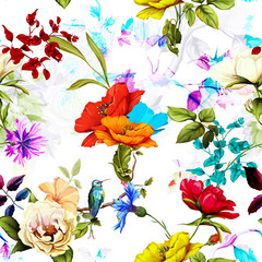 Seamless pattern of wild rose, poppy flowers, cornflowers with humming bird on branch with leaves on white. Hand drawn. Vector stock.