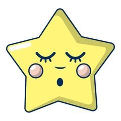 Sleeping star icon, cartoon style