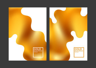 Modern gold covers. Fluid color background. Minimalism
