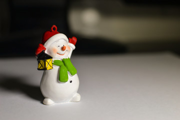 Snowman on the desktop in front of the computer