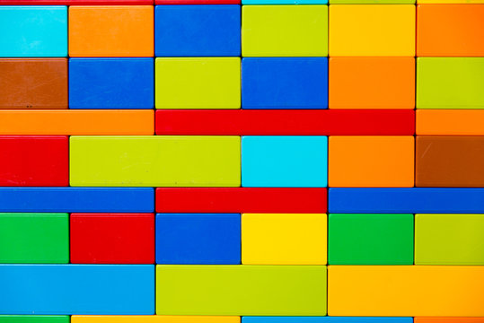 a wall of colored cubes.