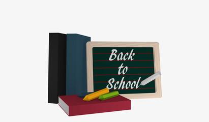 Schiefertafel mit dem Text Back to School, Büchern und bunter Kreide
