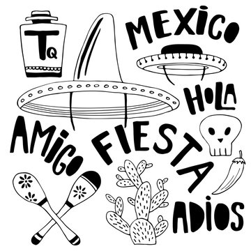 Mexican elements and words collection. Cinco de mayo holiday decor. Doodle hand drawn decorations for your design