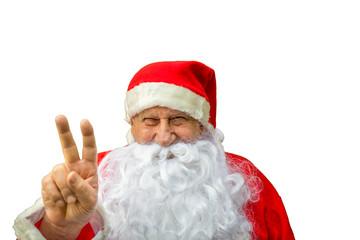Santa Claus showing victory gesture