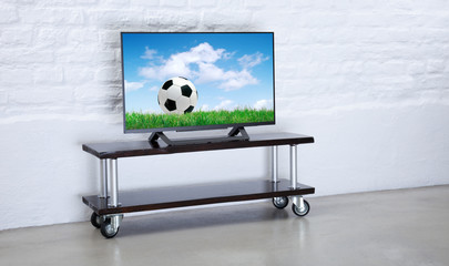 Football match on TV
