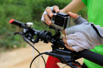 Action camera mounted on mountain bike