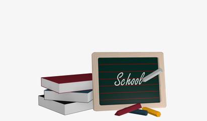 Schiefertafel mit dem Text Schule, einem Bücherstapel und bunter Kreide
